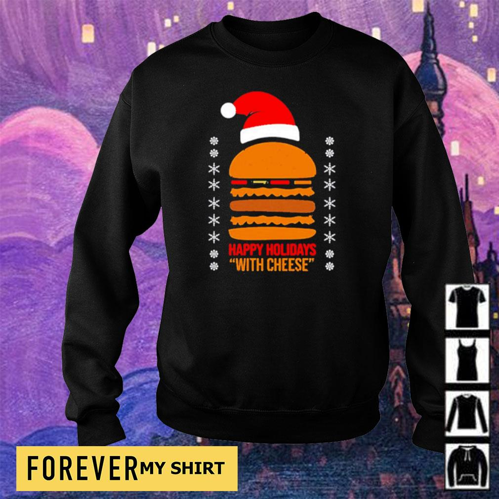 Samuel Jackson happy holidays with cheese Christmas sweater