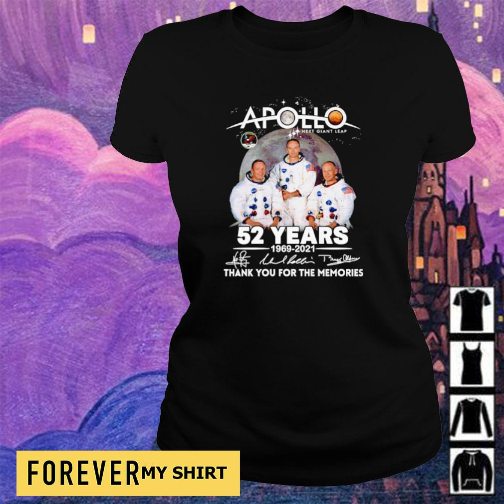 Apollo next giant leap 52 years 1969 2021 thank you for the memories signature s ladies tee