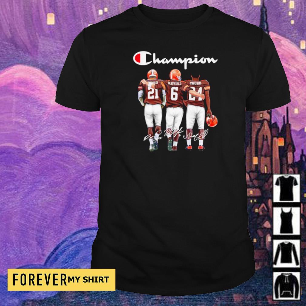 Cleveland Browns Ward Mayfield and Chubb signature Champion shirt