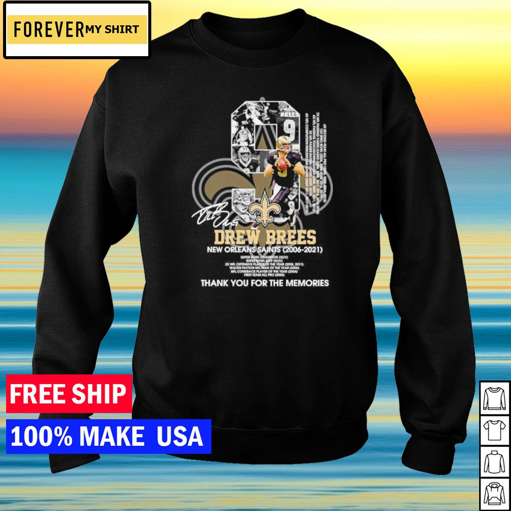 Drew Brees New Orleans Saints Super Bowl Champion thank you for the memories signature s sweater