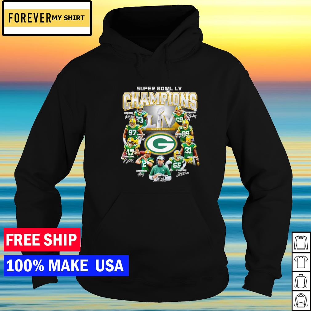 Green Bay Packers Super Bowl LV NFL player's signature s hoodie