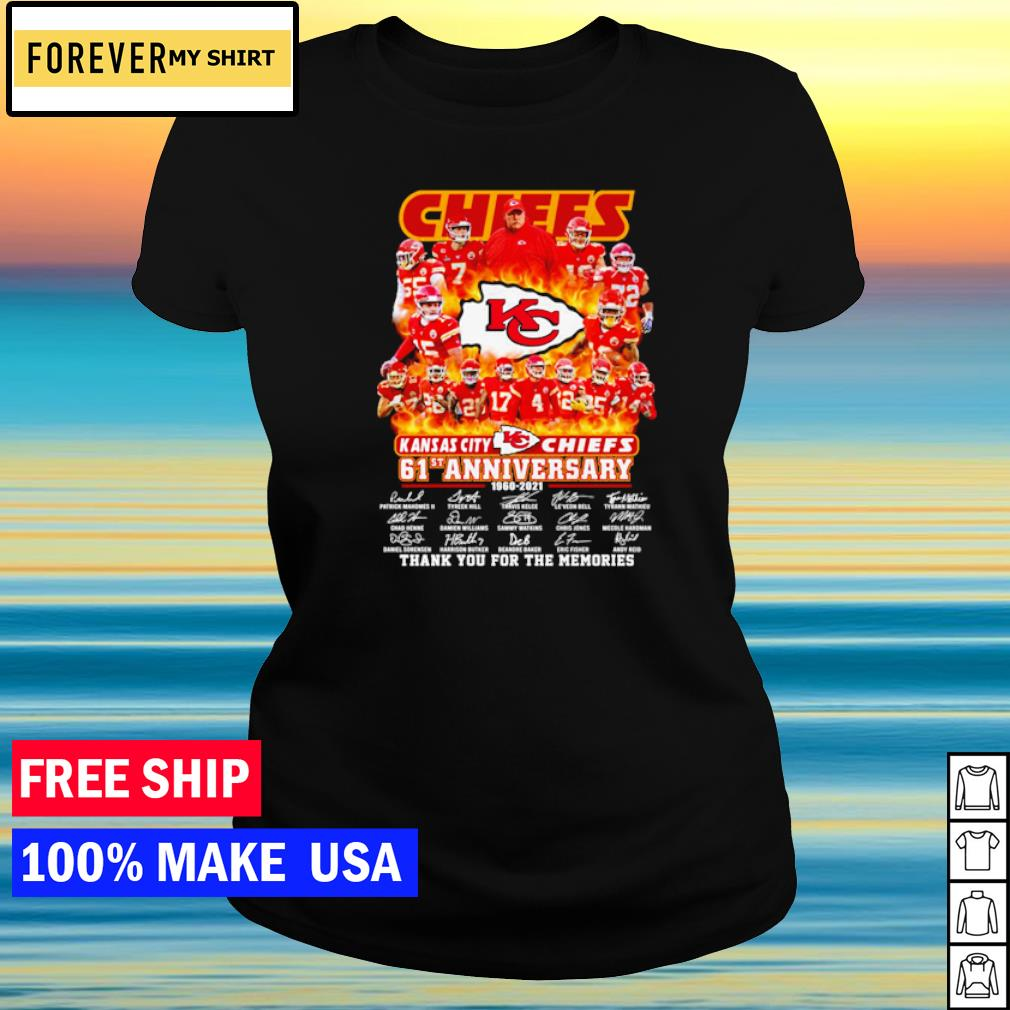 Kansas City Chiefs 61st anniversary thank you for the memories s ladies tee