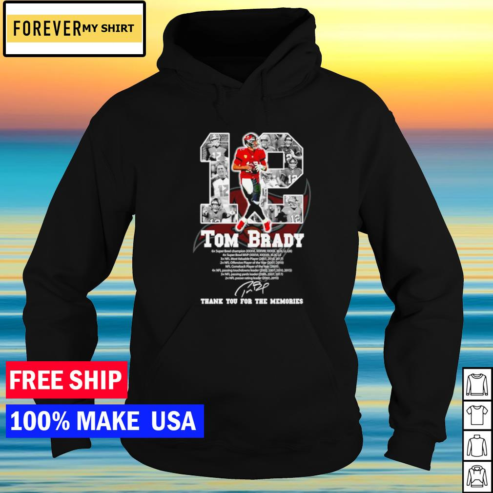 Tampa Bay Buccaneers Tom Brady number 12 Champion NFL thank you for the memories s hoodie