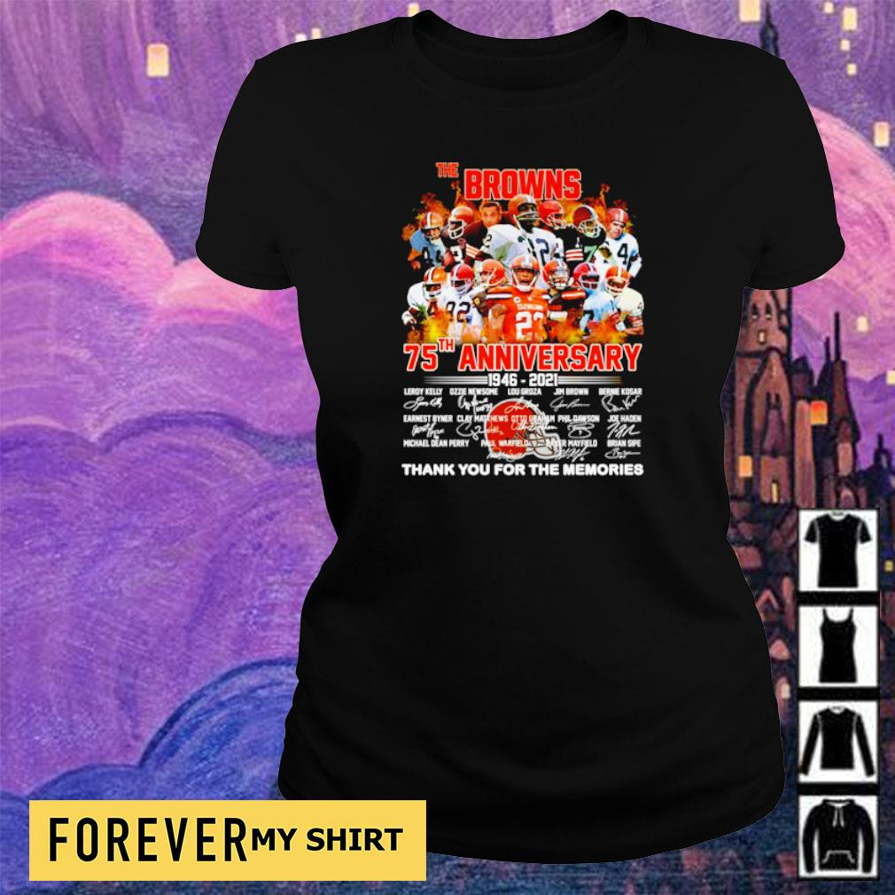 The Cleveland Browns 75th anniversary 1946 2021 thank you for the memories signature s ladies tee