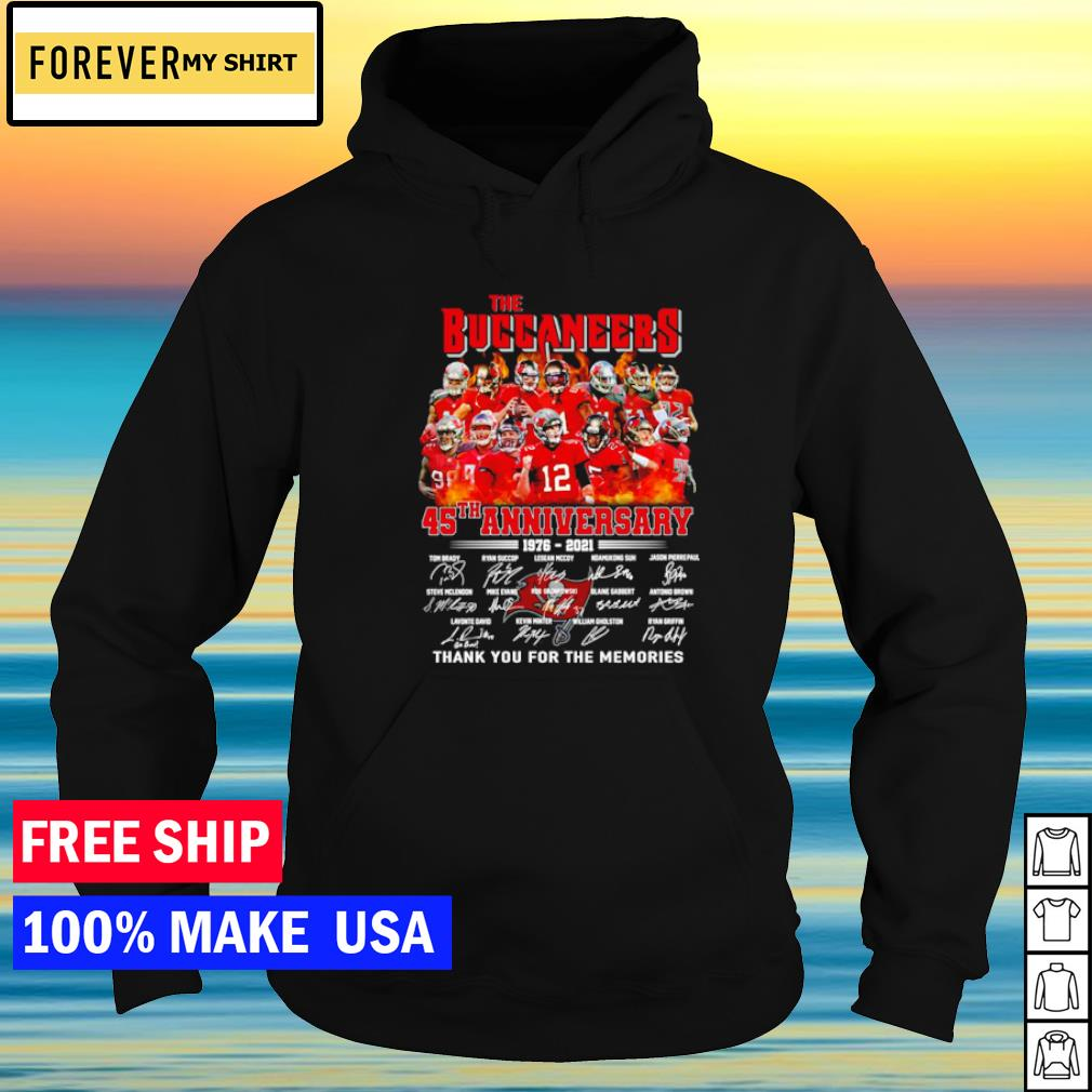 The Tampa Bay Buccaneers 45th anniversary 1976-2021 thank you for the memories s hoodie
