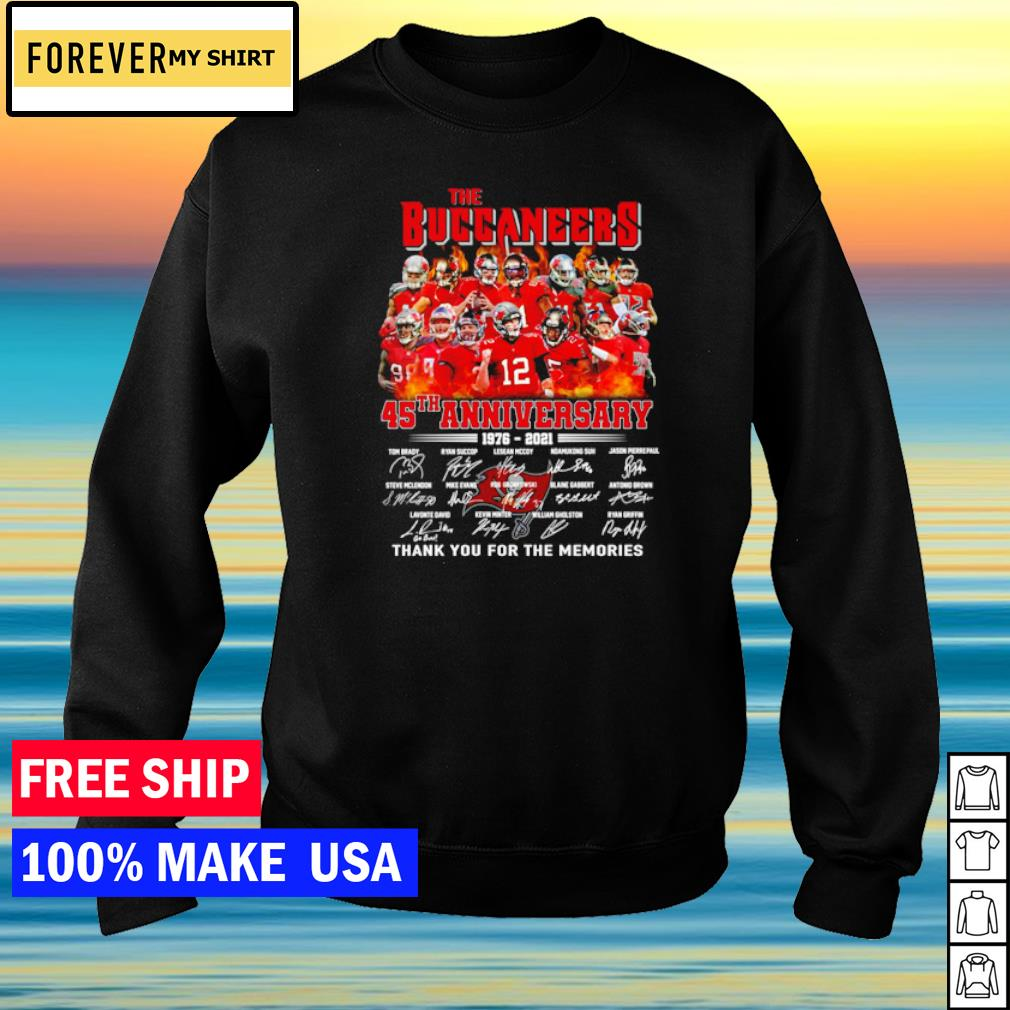 The Tampa Bay Buccaneers 45th anniversary 1976-2021 thank you for the memories s sweater